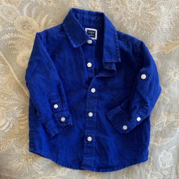 57ff14ab Janie and Jack Shirts & Tops | Royal Blue Linen Button Down | Poshmark